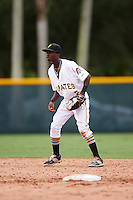 GCL Pirates shortstop Victor Ngoepe (5) during a game against the GCL Phillies on August 6, 2016 at Pirate City in Bradenton, Florida.  GCL Phillies defeated the GCL Pirates 4-1.  (Mike Janes/Four Seam Images)
