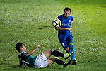 SC Kitchee Defender Daniel Cancela Rodriguez (R) fights for the ball with Wai Kong Lo of Long Lions (R) during the Community Cup match between Kitchee and Eastern Long Lions at Mong Kok Stadium on September 23, 2017 in Hong Kong, China. Photo by Marcio Rodrigo Machado / Power Sport Images