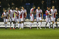 Will Boyle of Cheltenham Town (5th left) celebrates with team mates after he scores the opening goal of the game during the Sky Bet League 2 match between Luton Town and Cheltenham Town at Kenilworth Road, Luton, England on 31 January 2017. Photo by David Horn / PRiME Media Images