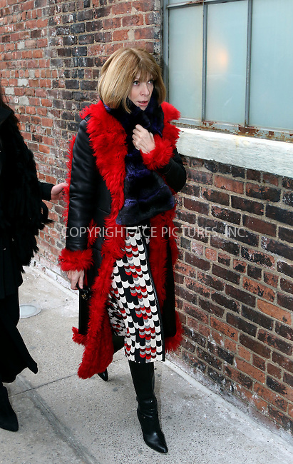 WWW.ACEPIXS.COM<br /> <br /> February 16 20915, New York City<br /> <br /> Anna Wintour arrives at the &quot;DKNY Fall 2015 ' show on February 16 2015 in New York City<br /> <br /> <br /> By Line: Zelig Shaul/ACE Pictures<br /> <br /> <br /> ACE Pictures, Inc.<br /> tel: 646 769 0430<br /> Email: info@acepixs.com<br /> www.acepixs.com