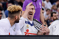 Real Madrid's Jeffery Taylor and Andres Nocioni during Quarter Finals match of 2017 King's Cup at Fernando Buesa Arena in Vitoria, Spain. February 19, 2017. (ALTERPHOTOS/BorjaB.Hojas)