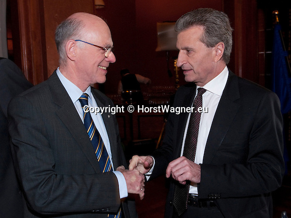 Brussels-Belgium - February 01, 2012 -- Visit to Brussels by Prof. Dr. Norbert LAMMERT (le), President / Speaker of the German Parliament (Deutscher Bundestag); here, with Günther (Guenther, Gunther) OETTINGER (ri), EU-'Energy'-Commissioner -- Photo: © HorstWagner.eu