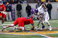 TD Ierlan (#3) wins a faceoff against Richmond's Nick D'Amario (#38) as UAlbany Men's Lacrosse defeats Richmond 18-9 on May 12 at Casey Stadium in the NCAA tournament first round.
