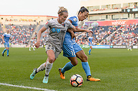 Bridgeview, IL - Sunday September 03, 2017: Kristen Hamilton, Yuki Nagasato during a regular season National Women's Soccer League (NWSL) match between the Chicago Red Stars and the North Carolina Courage at Toyota Park. The Red Stars won 2-1.