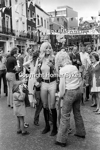Hot Pants fashion Beauchamp Place street party Knightsbridge London SW3..My ref 12a/254/,1971,
