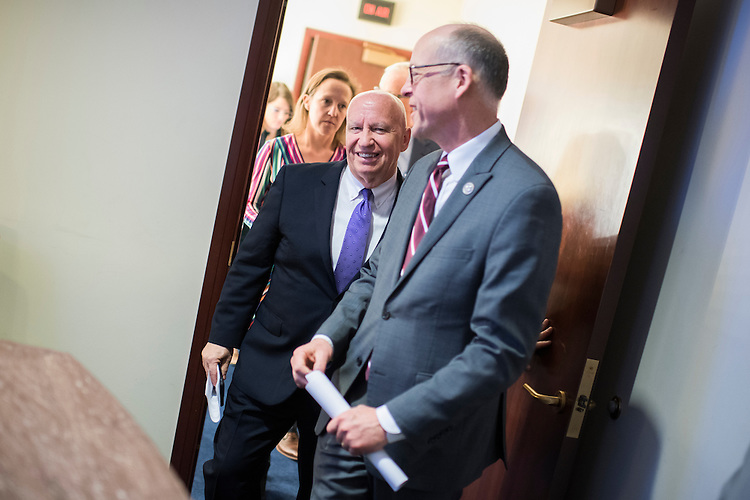 UNITED STATES - MARCH 7: Rep. Greg Walden, R-Ore., right, chairman of the House Energy and Commerce Committee, and Rep. Kevin Brady, R-Texas, chairman of the House Ways and Means Committee, leave a news conference in the House studio on the American Health Care Act, the House Republican's plan to replace the Affordable Care Act, March 7, 2017. (Photo By Tom Williams/CQ Roll Call)