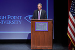 High Point University Athletic Director Dan Hauser addresses the crowd at the Hayworth Fine Arts Center on the campus of High Point University on March 27, 2018 in High Point, North Carolina.  (Brian Westerholt/Sports On Film)