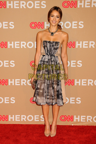 JESSICA ALBA .CNN Heroes: An All-Star Tribute 2010 held at the Shrine Auditorium, Los Angeles, California, USA, .20th November 2010..full length dress beige necklace silver grey gray print white clutch bag nude shoes .CAP/ADM/BP.©Byron Purvis/AdMedia/Capital Pictures.