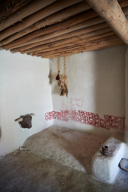 A plastered bull skull and frescoes of a reconstruction of one of four Catalhoyuk houses to help archaeologists understand the finished structure of excavated ruins. 7500 BC to 5700 BC, Catalyhoyuk Archaeological Site, Çumra, Konya, Turkey