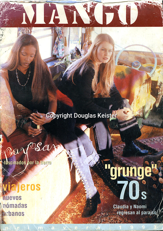 The bus had its most noted exposure as a foil in a photo shoot in 1993 for Mango, a magazine/catalog produced by Barcelona-based fashion designer Mango. Supermodels Claudia Schiffer and Naomi Campbell posed, sulked, and vamped inside and outside the bus in an array of neo-hippie tie-dyed garments. Courtesy Michael Wright collection.
