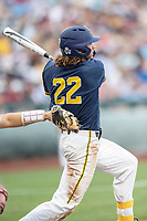 Michigan Wolverines outfielder Jordan Brewer (22) follows through on his swing during Game 6 of the NCAA College World Series against the Florida State Seminoles on June 17, 2019 at TD Ameritrade Park in Omaha, Nebraska. Michigan defeated Florida State 2-0. (Andrew Woolley/Four Seam Images)