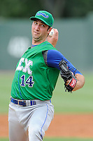 Starting pitcher Greg Billo (14) of the Lexington Legends in a game against the Greenville Drive on Friday, August 18, 2013, at Fluor Field at the West End in Greenville, South Carolina. Lexington won, 5-0. (Tom Priddy/Four Seam Images)