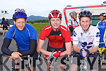 Wheels of Glory: PJ, Alan Whooley and Paul O'Sullivan Abbeyfeale at the start of the annual Ring of Kerry cycle in Killarney on Saturday .
