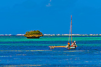 An outrigger boat on Oro Bay, near the Le Meridien Isle of Pines beach resort hotel, Ile des Pins (Isle of Pines), New Caledonia
