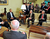 United States President Barack Obama makes remarks to the press as he meets bipartisan leaders of the Senate and the bipartisan leaders of the Senate Judiciary Committee in the Oval Office to discuss the Supreme Court vacancy left by the retirement of Justice Stevens in Washington, D.C. on Wednesday, April 21, 2010.  From left to right: the President; U.S. Senate Majority Leader Harry Reid (Democrat of Nevada); and U.S. Senate Republican Leader Mitch McConnell (Republican of Kentucky), and U.S. Senator Patrick Leahy (Democrat of Vermont), Chairman, U.S. Senate Judiciary Committee..Credit: Ron Sachs / Pool via CNP