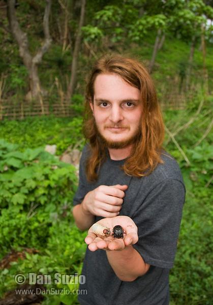 Biology student Scott Heacox holds a rhinoceros beetle and larva, Dynastinae, on Atauro Island, Timor-Leste (East Timor)