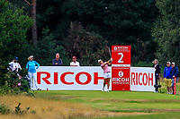 Celine Herbin (FRA) on the 2nd tee during Round 3 of the Ricoh Women's British Open at Royal Lytham &amp; St. Annes on Saturday 4th August 2018.<br /> Picture:  Thos Caffrey / Golffile<br /> <br /> All photo usage must carry mandatory copyright credit (&copy; Golffile | Thos Caffrey)