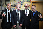 "© Joel Goodman - 07973 332324 . 14/10/2013 . Gorton Monastery , Manchester , UK . L-R son Nick Howard , father (and photographer friend of Harry's) Ron Howard , son Martin Howard and Terry Christian . The Humanist funeral of photographer Harry Goodwin , attended by footballers and other celebrities and featuring music by artists he had photographed including ""He Ain't Heavy, He's My Brother"" by the Hollies and "" Happiness "" by Ken Dodd .  Photo credit : Joel Goodman"