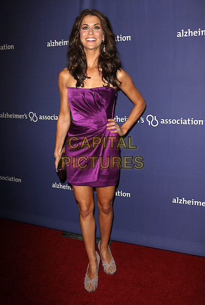 "SAMANTHA HARRIS.18Th Annual ""A Night at Sardi's"" Benefitting The Alzheimer's Association held At The Beverly Hilton Hotel, Beverly Hills, California, USA..March 18th, 2010.full length strapless purple dress hand on hip gathered silk satin beige grey gray peep toe suede platform cut out shoes gold clutch bag.CAP/ADM/KB.©Kevan Brooks/AdMedia/Capital Pictures."