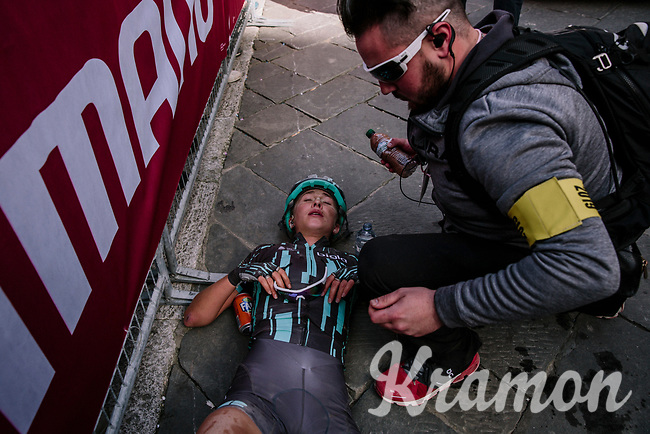 Cecilie Uttrup Ludwig (DEN/Bigla) collapses from fatigue after the finish<br /> <br /> 5th Strade Bianche WE (1.WWT)<br /> One day race from Siena to Siena (136km)<br /> <br /> ©JojoHarper for kramon