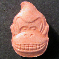 Pictured: Donkey Kong ecstasy tablet.<br /> Re: A 13-year-old boy, named locally as Carson Price,  has died after being found unconscious in Ystrad Mynach Park, Caerphilly County, at about 7.20pm on Friday 12 April.<br /> The teen was taken to University Hospital of Wales in Cardiff where he was pronounced dead.