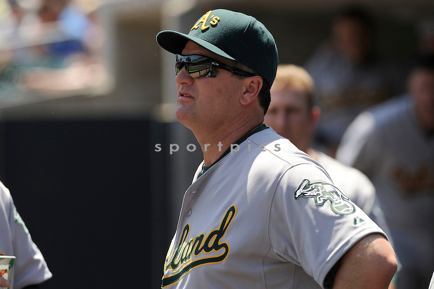 BOB GEREN,  of the Oakland A's  in action  during the A's game against the Detroit Tigers .  The Tigers beat the A's 10-2 in Detroit, Michigan on May 30, 2010...DAVID DUROCHIK / SPORTPICS
