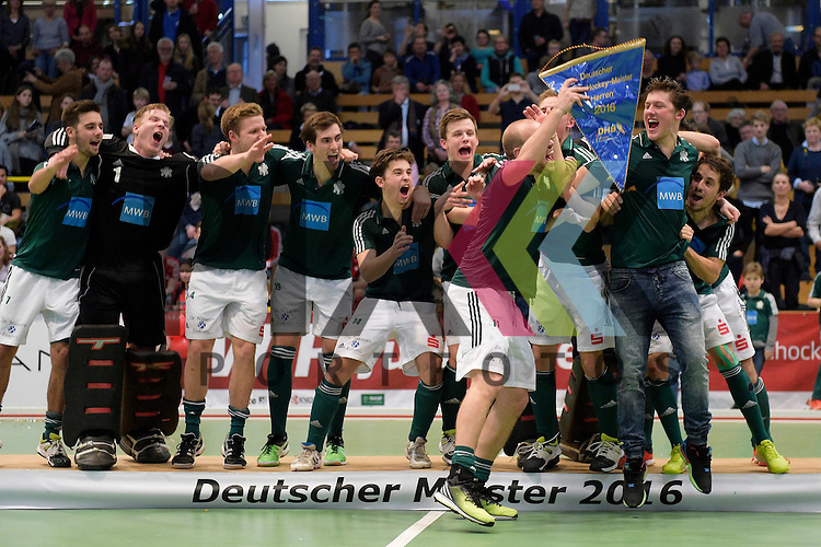 GER - Luebeck, Germany, February 07: During the prize giving ceremony at the Final 4 on February 7, 2016 at Hansehalle Luebeck in Luebeck, Germany. Team of HTC Uhlenhorst Muehlheim presents the Blauen Wimpel after defeating Rot-Weiss Koeln in the final of the Final4 in Luebeck 8-4.<br /> <br /> Foto &copy; PIX-Sportfotos *** Foto ist honorarpflichtig! *** Auf Anfrage in hoeherer Qualitaet/Aufloesung. Belegexemplar erbeten. Veroeffentlichung ausschliesslich fuer journalistisch-publizistische Zwecke. For editorial use only.