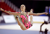 Budapest, Hungary, September 25, 2003 -- ANNA BESSONOVA of Ukraine wins Silver medal in All-Around final at 2003 Rhythmic Gymnastics World Championships.