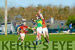 Action from Lixnaw v Cashel King Cormacs in the Munster Hurling Intermediate Club Championship in Lixnaw on Sunday as Lixnaws Raymond Galvin and Cashel's Eoghan Connolly try to take possession in an aerial battle
