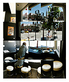 USA, California, San Francisco, a collage of images at Naked Lunch restaurant in North Beach