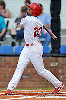 Johnson City Cardinals  center fielder Vaughn Bryan #23 swings at a pitch during a game against the Danville Braves at Howard Johnson Field on June 23, 2013 in Johnson City, Tennessee. The Cardinals won the game 5-4. (Tony Farlow/Four Seam Images)