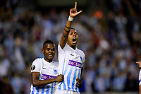 VIGO, SPAIN - APRIL 13 : Jean-Paul Boetius  forward of KRC Genk celebrates scoring the opening goal with teammate Ally Mbwana Samatta forward of KRC Genk during the UEFA Europa League, Quarter-finals, 1st leg match between RC Celta de Vigo and KRC Genk at the Balaidos stadium on April 13, 2017 in Vigo, Spain, 13/04/2017 <br /> Vigo 13-04-2016 <br /> Celta Vigo - Genk Europa League <br /> Foto Panoramic / Insidefoto <br /> ITALY ONLY