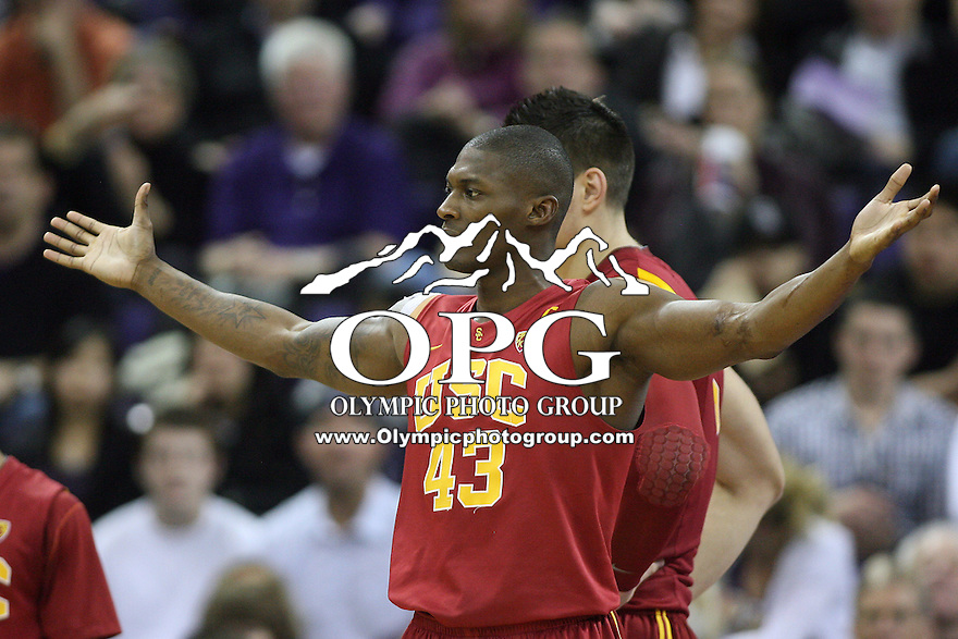 Mar 05, 2011:  USC players #43 Marcus Simmons  asks the ref what the foul was called on against Washington.  USC defeated Washington 62-60 at Alaska Airlines Arena Seattle, Washington...