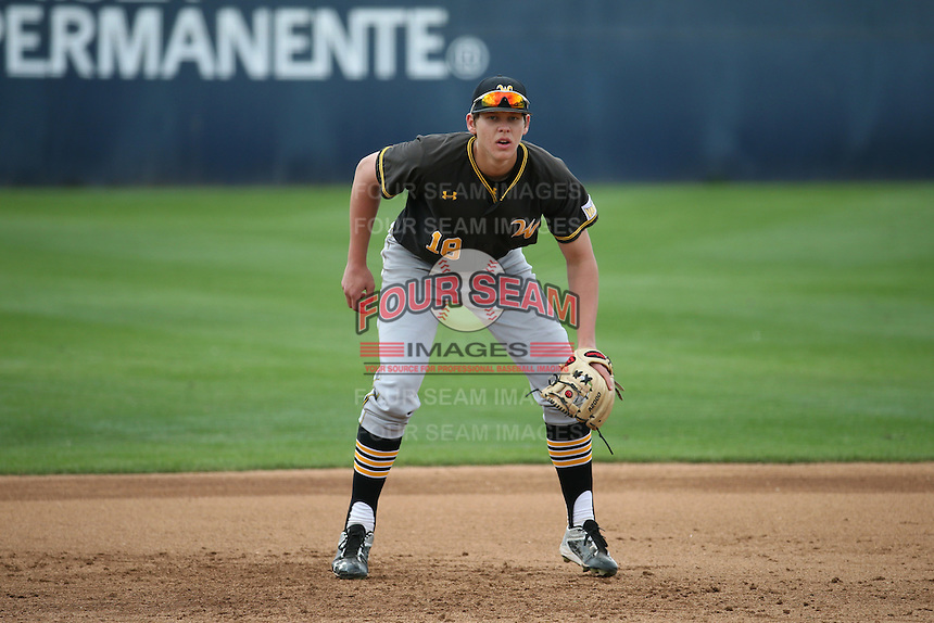 Alec Bohm (18) of the Wichita State Shockers in the field during a game against the Cal State Fullerton Titans at Goodwin Field on March 13, 2016 in Fullerton, California. Cal State Fullerton defeated Wichita State, 7-1. (Larry Goren/Four Seam Images)
