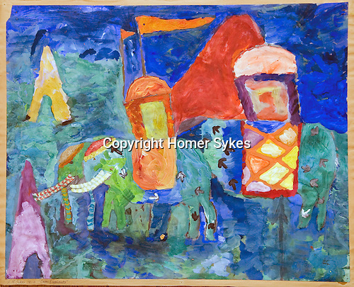 "Painting by HWS age 10 yrs 10mths  The Downs School Colwall. Art master Jimmy ( James ) Lynch. Painting called ""Green Elephants"""