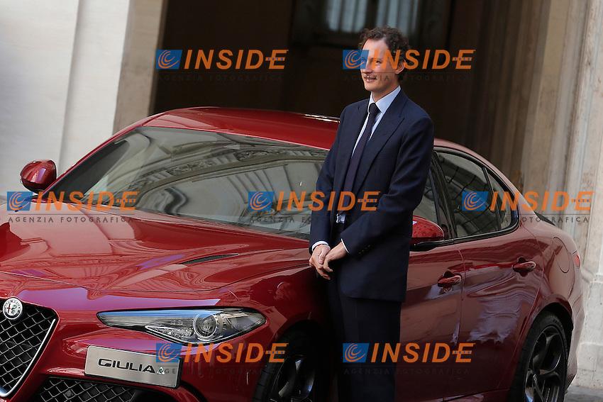 John Elkann<br /> Roma 05-05-2016 Palazzo Chigi. Presentazione della Nuova Alfa Romeo Giulia.<br /> Rome 16th May 2016. Presentation of the new Giulia by Alfa Romeo.<br /> Photo Samantha Zucchi Insidefoto
