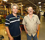Cheshire, CT-24 August 2012-082412CM09-  Social Moments. Waterbury Button's open house to celebrate its 200th Anniversary.  From L-R Employees, Francisco Rodriguez and Art St. Germain.   Christopher Massa Republican-American