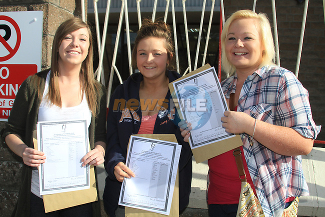 Symantha Bagnel, Caoilainn Kavanagh and Ciara Byrne with there Leaving cert result..Picture Fran Caffrey www.newsfile.ie