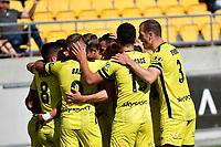 Wellington Phoenix celebrates a goal during the A League - Wellington Phoenix v Sydney FC at Sky Stadium, Wellington, New Zealand on Saturday 21 December 2019. <br /> Photo by Masanori Udagawa. <br /> www.photowellington.photoshelter.com