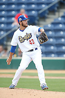 John Richy (43) of the Rancho Cucamonga Quakes pitches during a game against the Visalia Rawhide at LoanMart Field on May 6, 2015 in Rancho Cucamonga, California. Visalia defeated Rancho Cucamonga, 7-2. (Larry Goren/Four Seam Images)