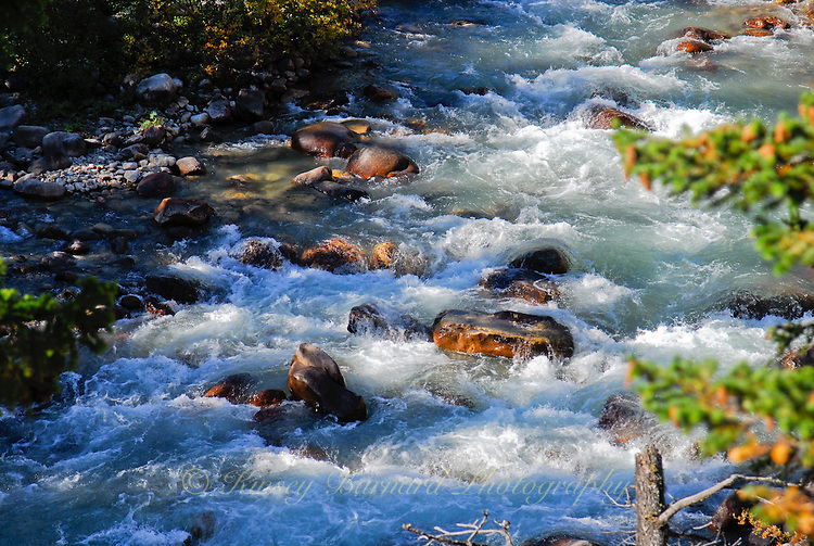 Rushing waters of Edith Clavell Creek Jasper National Park