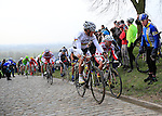 Riders including World Champion Philippe Gilbert (BEL) BMC Racing Team at the top of the cobbled climb of Paterberg during the 56th edition of the E3 Harelbeke, Belgium, 22nd  March 2013 (Photo by Eoin Clarke 2013)