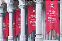 Red banners hang in front of the Musee de la Ville de Bruxelles (Museum of the City of Brussells) in Brussels, Belgiam