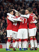 Celebrations after Aaron Ramsey of Arsenal scores a goal to make it 1-0 during the UEFA Europa League QF 1st leg match between Arsenal and CSKA Moscow  at the Emirates Stadium, London, England on 5 April 2018. Photo by Andrew Aleksiejczuk / PRiME Media Images.