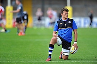 Zach Mercer of Bath Rugby looks on during the pre-match warm-up. West Country Challenge Cup match, between Gloucester Rugby and Bath Rugby on September 13, 2015 at the Memorial Stadium in Bristol, England. Photo by: Patrick Khachfe / Onside Images
