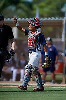Victor Manuel Torres during the WWBA World Championship at the Roger Dean Complex on October 18, 2018 in Jupiter, Florida.  Victor Manuel Torres is a catcher from Las Piedras, Puerto Rico who attends International Baseball Academy.  (Mike Janes/Four Seam Images)