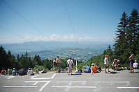 roadside fans waiting for riders to pass by on the very last climb of the 100th Tour de France<br /> <br /> Tour de France 2013<br /> stage 20: Annecy to Annecy-Semnoz<br /> 125km