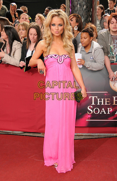 EMMA RIGBY .Arrivals - the British Soap Awards 2009, BBC Television Centre, Wood Lane, London, England, UK, May 9th 2009. soaps tv full length strapless pink long maxi dress black clutch bag patterned pattern .CAP/CAS.©Bob Cass/Capital Pictures