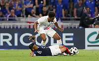 Lyon, France - Saturday June 09, 2018: Erik Palmer-Brown, Corentin Tolisso during an international friendly match between the men's national teams of the United States (USA) and France (FRA) at Groupama Stadium.