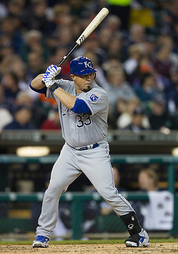 May 01, 2012:  Kansas City Royals catcher Humberto Quintero (33) at bat during MLB game action between the Kansas City Royals and the Detroit Tigers at Comerica Park in Detroit, Michigan.  The Tigers defeated the Royals 9-3.
